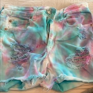 Tie die denim shorts